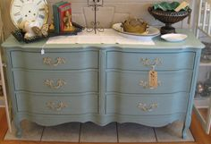 French Provincial Dresser refinished in Duck Egg Blue Chalk Paint® decorative paint by Annie Sloan - Serendipity Vintage Furnishings