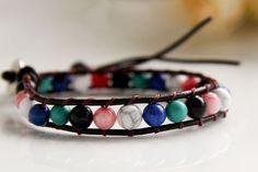 Handmade Natural Colored Stone Beaded Bracelet $15.99