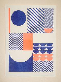 Image of 'Happiness' A5 Riso Print Blue & Fluro Orange