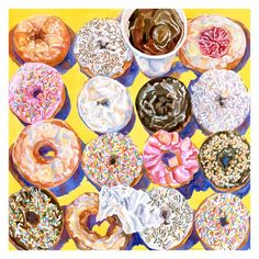 Items similar to Donuts On Yellow To Go 8 x 8 Archival Fine Art Retro Baking Diner Kitchen Print on Etsy National Donut Day, Delicious Donuts, Kitchen Prints, Donut Shop, A Level Art, Still Life Art, Gcse Art, Food Illustrations, Food Art