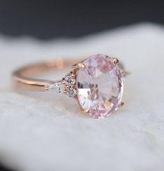 Blush sapphire engagement ring. Light peach pink sapphire 3.15ct oval diamond ring 14k Rose gold. Campari Engagement ring by Eidelprecious #sapphireengagementrings
