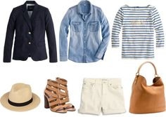 striped tee with black blazer or chambray shirt...or both!