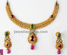 latest gold necklace set by vivah collection of PN gadgil - Latest Jewellery Designs