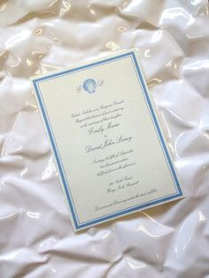 Simple shell invitation by Dulcepress on Etsy, $3.25