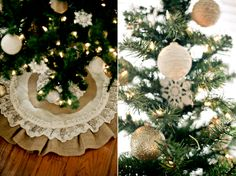 twine wrapped ornaments/burlap theme Christmas tree