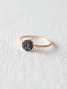 Black Druzy Ring | Druzy Stone Ring | Black Sparkly Gold Ring [Eclipse Ring] by DavieAndChiyo607 on Etsy https://www.etsy.com/listing/249407732/black-druzy-ring-druzy-stone-ring-black