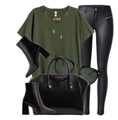 """""""Green & Black"""" by smartbuyglasses-uk ❤ liked on Polyvore featuring Spitfire, Accessorize, Givenchy, MANGO, black and GREEN"""