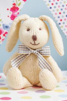 This cute toy rabbit knitting pattern is in stocking stitch with embroidered facial features. Perfect for your little one!