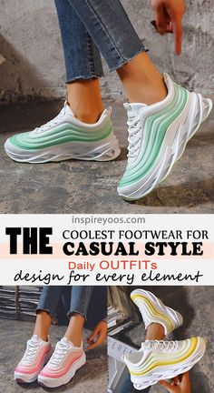 Sneakers Fashion Outfits, Cool Outfits, Amazing Outfits, Lace Up Heels, Toe Shape, Platform Sneakers, Stylish, Womens Fashion, Walking Shoes