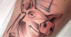 Tattoo Artist: Uncle Arlo · Arlin Ffrench. Tags: styles, Sketch Work, Animals, Pigs. Body parts: Thigh.