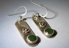 Southwestern sterling silver earrings with brushed patina and jades and flowers