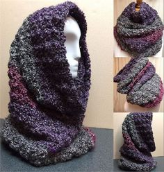 Gray and Purple Hooded Cowl, Crochet Cowl, Fuzzy GrayHooded Cowl Scarf     Look fabulous this Winter and stylishly chic in this gorgeous cluster stitch hooded cowl.    I designed this cowl scarf with the specific intent to make it deep enough to pull up over your head as a hood to protect your ears and head on brisk windy days.  It slips on like a long turtleneck and gathers nice and bulky around your neck.   This cowl scarf was crocheted with fuzzy acrylic yarn. Its thick and warm…