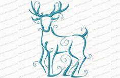 Christmas Reindeer Outline #7 Embroidery Design - Kris Rhoades