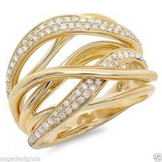 0-51CT-14K-Yellow-Gold-Diamond-Cocktail-Bridge-Cross-Over-Fashion-Multi-Ring