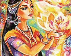 Spirituele kunst, bidden vrouw, inspirerende schilderen, Indiase godin print, yoga lotus kunst, schoonheid schilderij print 8x11.5 +