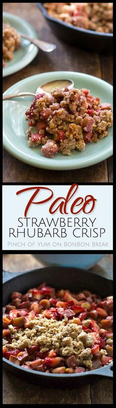 Tart rhubarb is paired with sweet strawberries and topped with a cinnamon pecan crumble topping in this Paleo Strawberry Rhubarb Crisp
