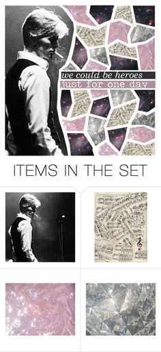 """""""HEROES"""" by amber-soleil ❤ liked on Polyvore featuring art, croppedsets, davidbowie and scroll_position"""