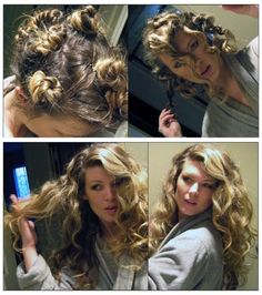 How to curl your hair without heat? Get curly hair fast and naturally. Home remedies to get curl hair. Curl your hair with a headband. Natural Curls, Natural Hair Styles, Long Hair Styles, Natural Light, Curled Hairstyles, Pretty Hairstyles, Short Hairstyles, Overnight Hairstyles, Simple Hairstyles
