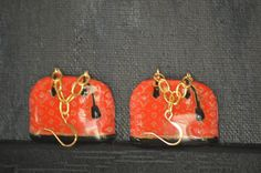 Designer handbag earrings at PICASSZOS on etsy