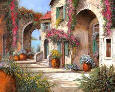 Arches Painting - Archi E Fiori by Guido Borelli