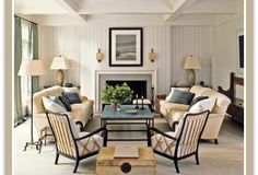 ideas to decorate a living room with furniture layout, symmetry and balance.  Couches and chairs are symmetrical on either side of the fireplace