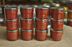 12 quart pints of tomato paste by Marisa | Food in Jars, via Flickr