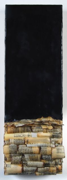 "Sarah Rehmer | Continuing Stories #3, 2011-2012 | encaustic, paper and oil on panel, 8""x24"" /sm"