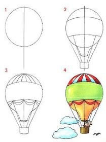 How to draw a hot air balloon step by step (art lesson, kids) Dibujar medios de transportes aéreos ~ Rayito de Colores Drawing Lessons, Art Lessons, Drawing Tips, Drawing Tutorials, Drawing Techniques, Doodle Drawings, Easy Drawings, Doodle Art, Art Videos For Kids