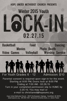 Submit Your Permission Slip By February 20 For the Youth Lock-In ...