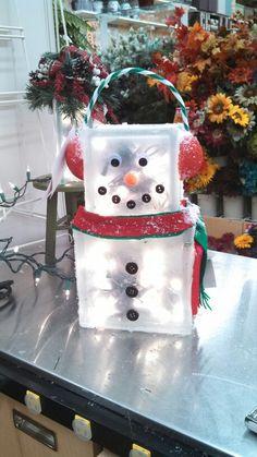 Kayla@Michaels Lisbon CT glass block snowman