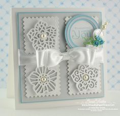 Wow!! Using New Spellbinders.  Love the Spellbinders layered flowers on the card!