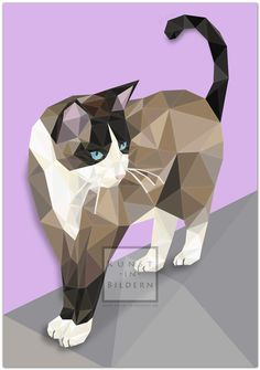 Geometric Quilt, Geometric Art, Illustrations, Illustration Art, Polygon Art, Cat Quilt, Animal Sketches, Arte Pop, Cat Crafts
