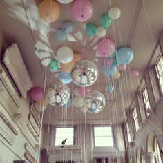 #balloons and #discoballs at Aynhoe Park | via lucy_davenport | Webstagram