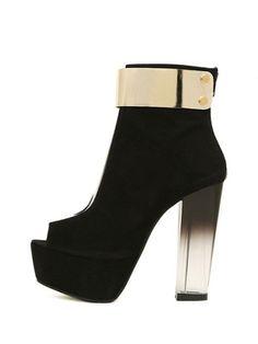 Black Transparent Heel Peep-toe Platforms #heels #shoes