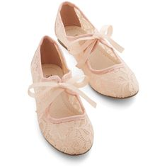 Fairytale Off-Screen Darling Flat (190 RON) ❤ liked on Polyvore featuring shoes, flats, pink, lace, modcloth, flat, ballet flat, lace up shoes, pink ballet flats and lace up flats