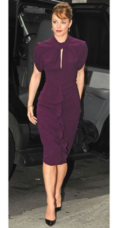 Rachel McAdams in Phillip Lim, 2009 from #InStyle  That aubergine color, that keyhole neckline, the ruffle - it's perfect!