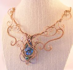 Copper necklace copper wire necklace with abalone by DebraNicholls, $78.00