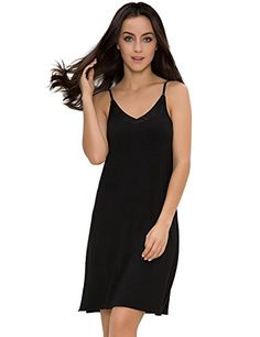 4ae39ae7b6 GYS Womens Satin V Neck Bamboo Full Slip Dress(Black
