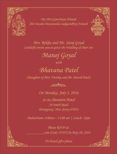 Indian wedding invitation wording template M y W e d d i