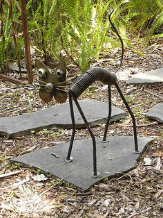 New Rustic Cat made of large Spring and Recycled Scrap Metal