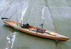 Kit built wooden kayak for fishing. Love it.