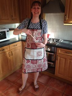 Finished apron being modelled by birthday girl