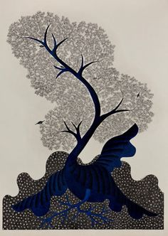 Gond Art l The Night Life of Trees l The Gonds are a tribal community from Madhya Pradesh  and their origins can be traced to pre-Aryan times. Their art, seen in both color as well as black and white, appears like a collage of dots and dashes from up close, but merges into vibrant images of plants and animals that tell captivating folktales of these people.