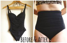 Little Did You Know...: Bathing Suit Modifications (1-Piece to High-Waisted 2-Piece + a Halter Top)