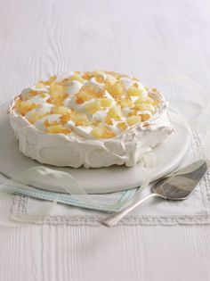 Pineapple and Ginger Pavlova ~ meringue dessert | recipe by Mary Berry of #GBBO from her book 'Mary Berry's Cookery Course' | via The Happy Foodie