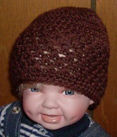 brown beanie 0 to 3 months by grandmakaystreasures on Etsy, $4.00