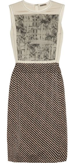 Bottega Veneta Brown Embroidered Printed Stretchsilk Dress