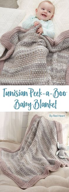 Tunisian Peek-a-Boo Baby Blanket free crochet pattern in Soft Essentials.