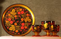 RUSSIAN Folk Art Plate Cups HAND PAINTED by FunAndVintageFinds