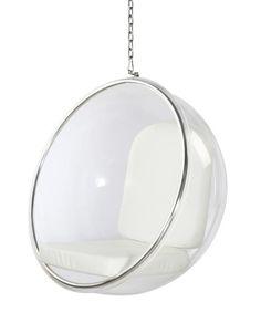 Eero Aarnio Style Bubble Hanging Chair White Cushion #WhiteChair